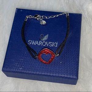 Swarovski Crystal and Black Leather Cord Bracelet